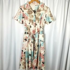 1960s Unlabeled Poly Floral Day Dress